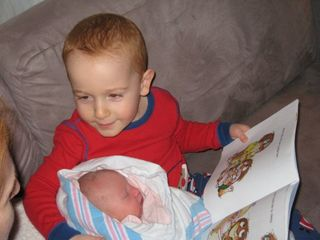 Parker reading to Mackenzie