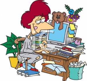 0511-0703-0217-1463_Businesswoman_Working_in_a_Messy_Office_clipart_image